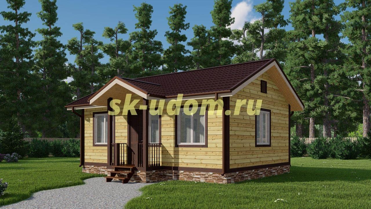 Проект недорогого каркасного домика 7х8