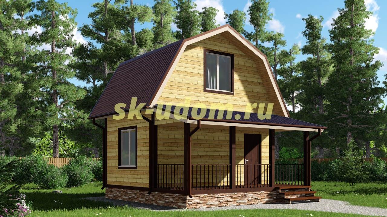 Каркасный домик 6х6 с мансардным этажом