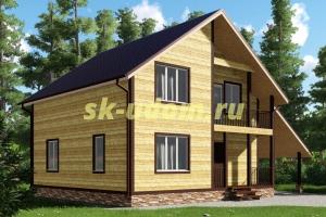 Проект каркасного дома 9х13 для постоянного проживания с навесом