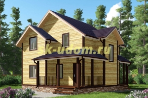 Проект двухэтажного каркасного дома 9х9 для постоянного проживания