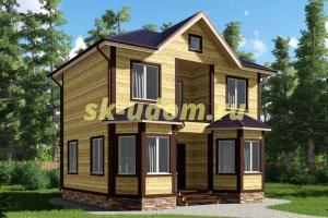 Проект двухэтажного каркасного дома 6х8 для постоянного проживания