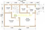 Проект двухэтажного каркасного дома 6х9.5 для постоянного проживания - планировка первого этажа