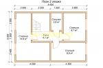 Проект двухэтажного каркасного дома 6х9.5 для постоянного проживания - планировка второго этажа