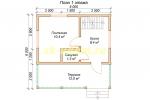 Каркасный домик 6х6 с мансардным этажом - планировка первого этажа