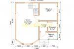 Каркасный дом для постоянного проживания 7х7 - планировка первого этажа